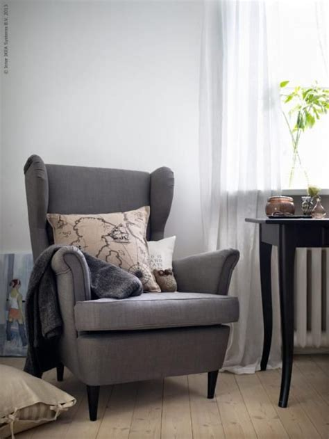 ikea living room chairs and ottomans ikea strandmon wing chair in gray furniture ideas