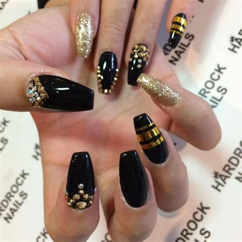 nails and designs glamorous black and gold nail designs be modish
