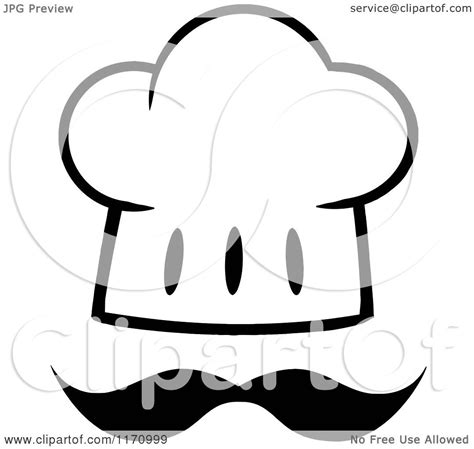 cartoon of a black and white chef hat and mustache