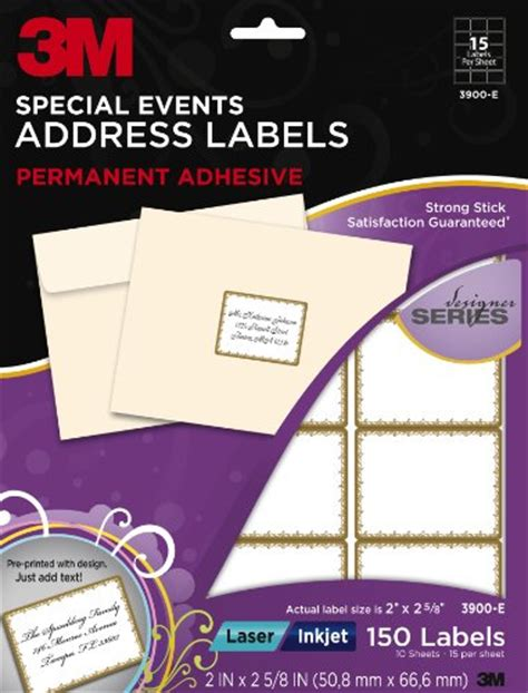 3m Designer Special Events Address Labels Laser Inkjet Gold Border 2 X 2 5 8 Inches 10 3m Address Label Template
