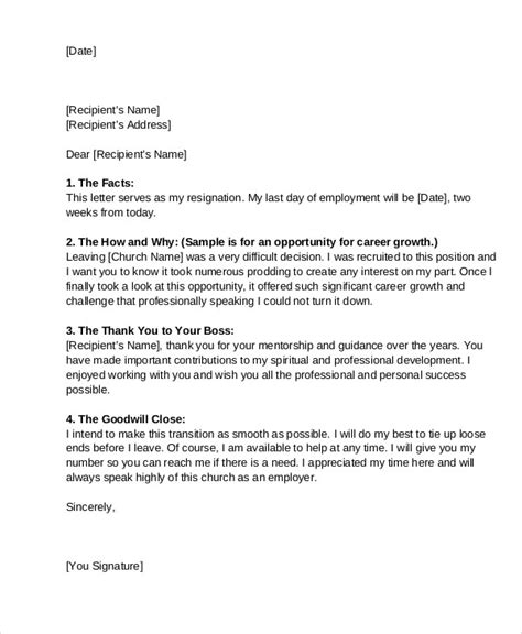 Letter Of Resignation From Church by 9 Church Resignation Letter Template Free Sle Exle Format Free Premium