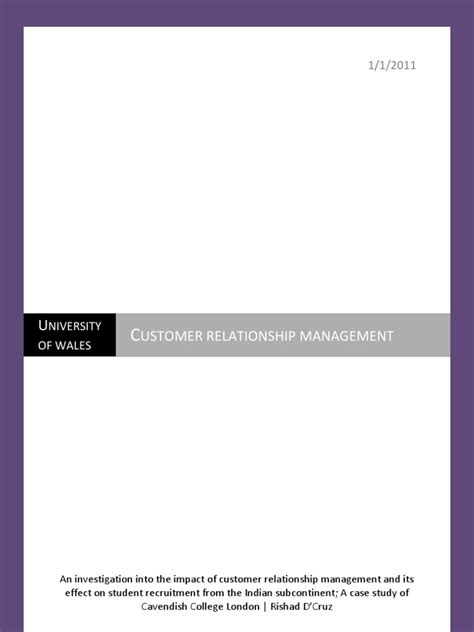 Mba In Tqm From Symbiosis by Customer Relationship Management Dissertation