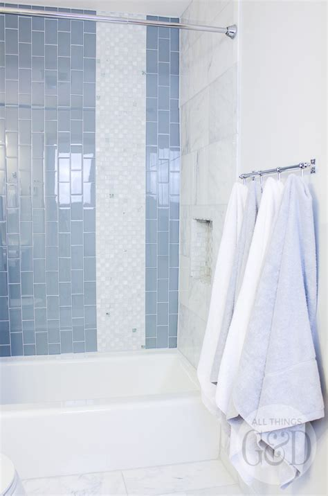 Bathroom Tile Makeover by Marble And Glass Tile Bathroom Makeover All Things G D