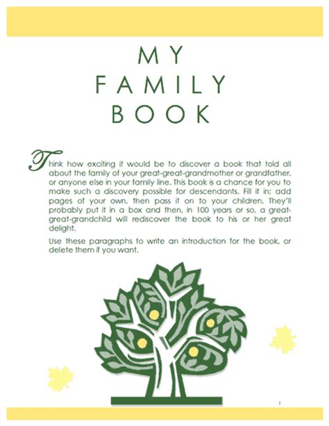 family history book template family tree template family history record template