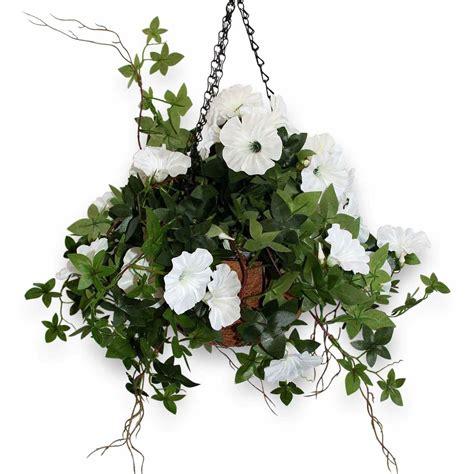 Hanging Flower Basket artificial morning white flower hanging basket