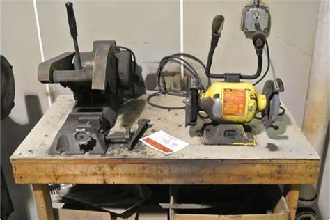 powercraft bench grinder table with mounted bench grinder and baldor motor powered