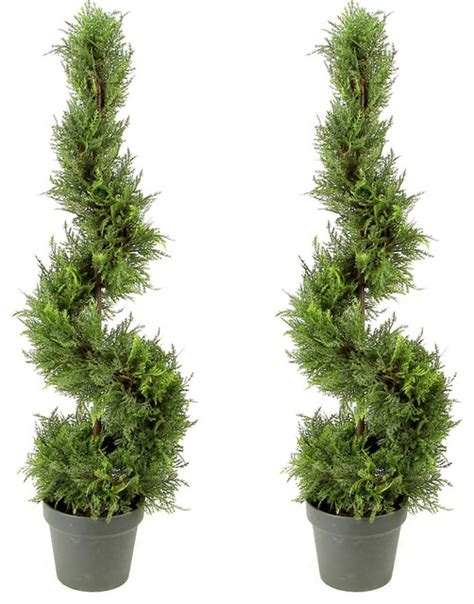 plastic topiary trees 3 artificial cypress spiral topiary plant tree in