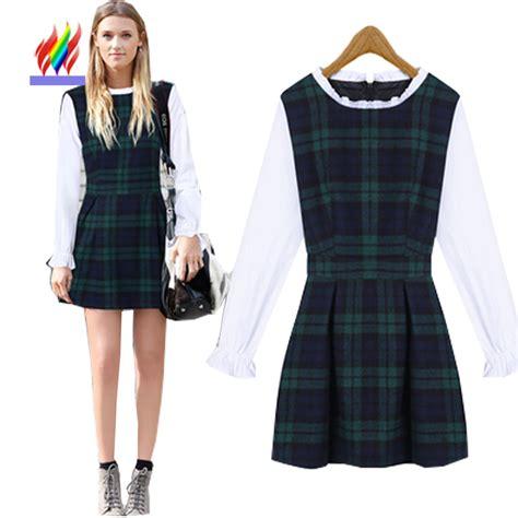 31271 Green Winter Plaid Dress aliexpress buy 2015 autumn winter basic sleeve fashion dresses for juniors sweet