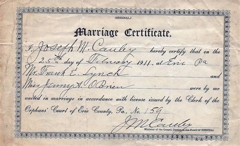Pa Marriage Records Copy Of Marriage Certificate Pennsylvania Images