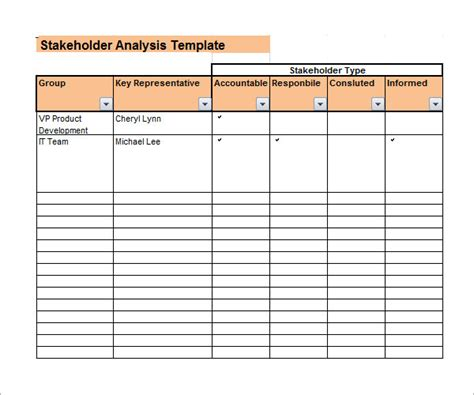 Stakeholder Analysis Template stakeholder analysis sle 9 documents in word excel pdf