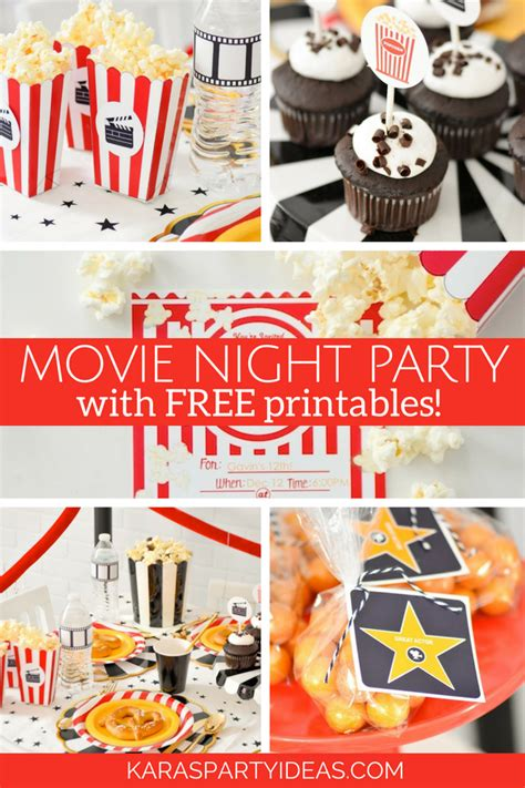 printable movie party decorations kara s party ideas movie night party with free printables