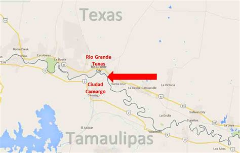texas mexico border map grande city texas ciudad camargo tamaulipas border crossing on the road in mexico