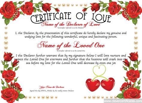 love certificate template