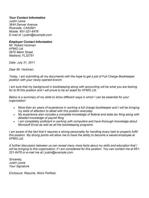 Charge Cover Letter by Charge Bookkeeper Cover Letter Http Www Resumecareer Info Charge Bookkeeper Cover
