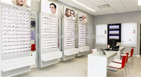 optical shop design layout fashion tempered glass sunglass wall display shelf for