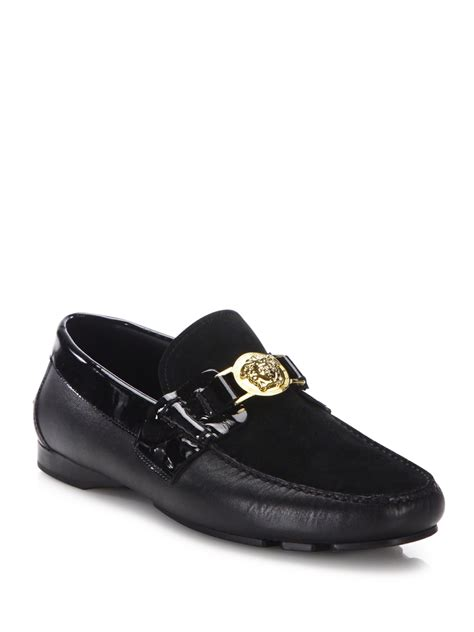 versace loafers for versace medusa leather loafers in yellow for lyst