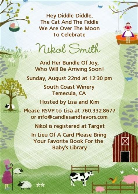 Wedding Announcement Rhymes by Nursery Rhyme Baby Shower Invitations Candles And Favors