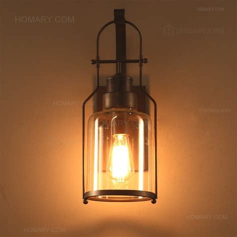 lantern lights indoor industrial loft rust metal lantern single wall sconce with clear glass indoor sconces wall