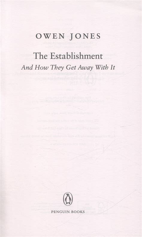 the establishment and how 0141974990 the establishment and how they get away with it by owen 9780141974996 brownsbfs