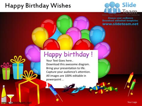 Happy Birthday Wishes Powerpoint Ppt Slides Birthday Wishes Templates Free