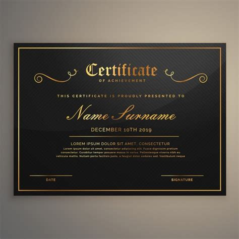 black certificate with gold ornaments vector free download