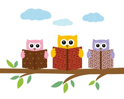 owl picture book items similar to owls reading books on a tree branch