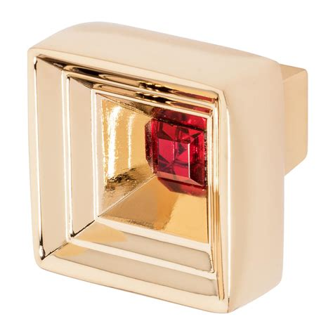 red crystal cabinet knobs wisdom stone hidden treasure 1 1 16 in polished gold with