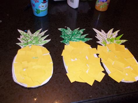 Paper Pineapple Craft - pinapple shape color or finger paint leaves green and