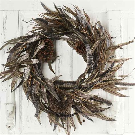 rustic faux pheasant feather wreath wall decor home decor