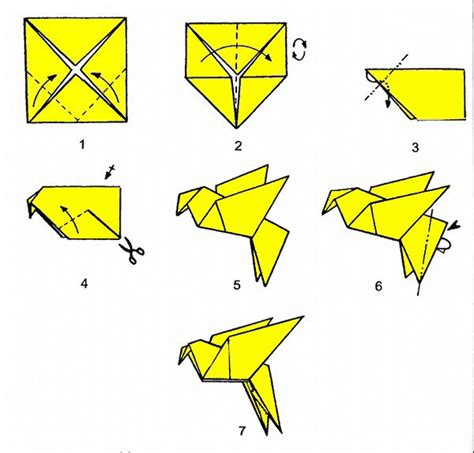 Simple Origami Steps - dove or other bird