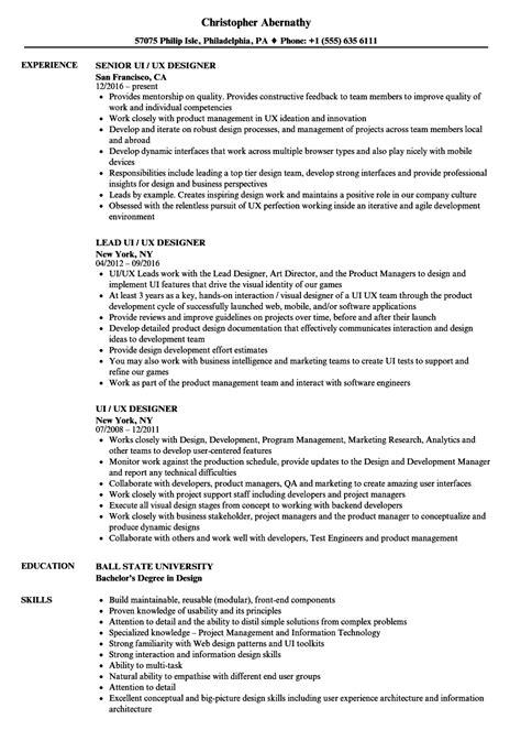 Ui Ux Designer Resume Sles Velvet Jobs Ui Designer Resume Template