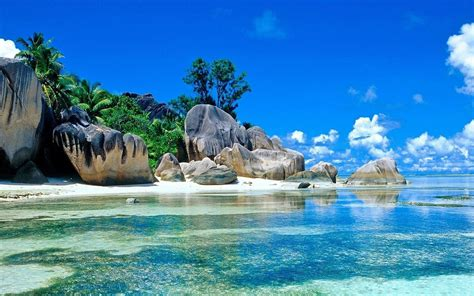 hd sea tropical island stones sky blue summer