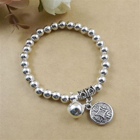 Wholesale ball beads Bracelet Fashion Jewelry Silver Jingle bell Creative Chinese Coin Charm