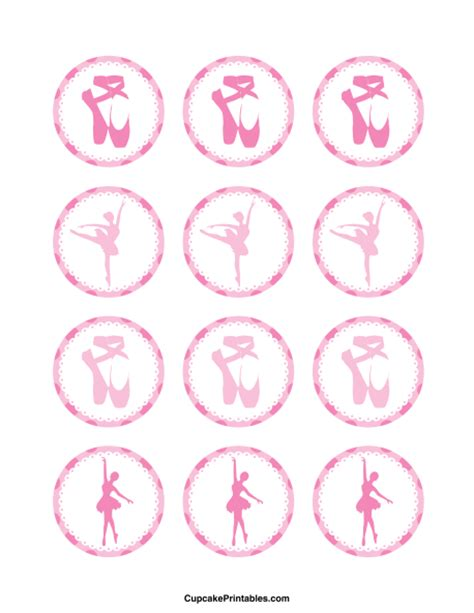 printable dance tags ballerina cupcake toppers use the circles for cupcakes