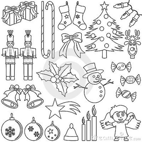 coloring pictures of christmas symbols coloring christmas elements royalty free stock photo