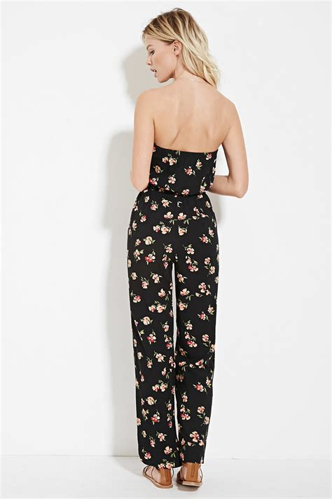 Floral Print Strapless Jumpsuit lyst forever 21 strapless floral print jumpsuit in black