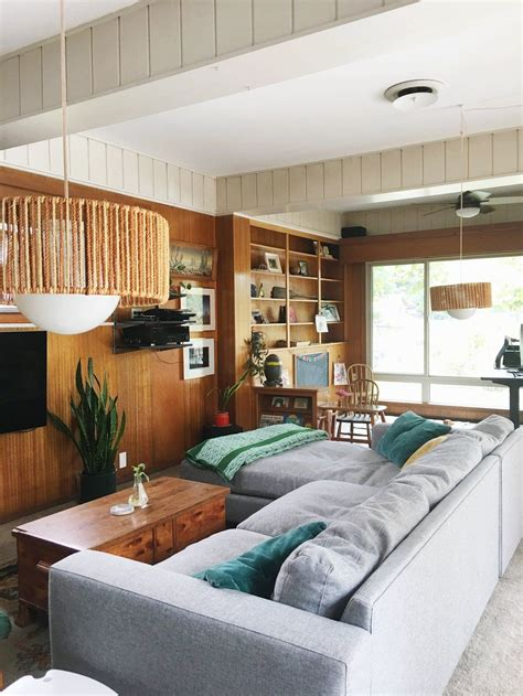cozy collected mid century modern den embracing dated