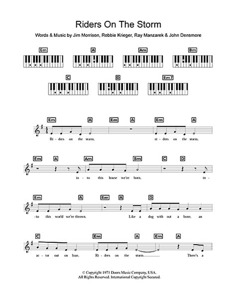 tutorial piano riders on the storm riders on the storm sheet music by the doors keyboard