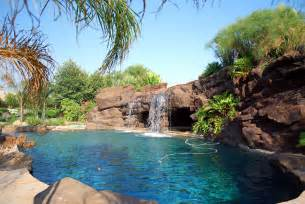 Backyard Rock Pools Backyard Waterfall Swimming Pool Spa Artificial Rock