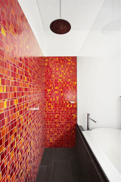 red and yellow bathroom sweeping views of sydney and lovely earth tones shape the