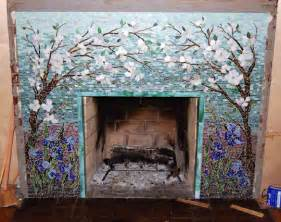 Kitchen Tile Murals Tile Art Backsplashes mosaic fireplace surround dogwood and irises designer