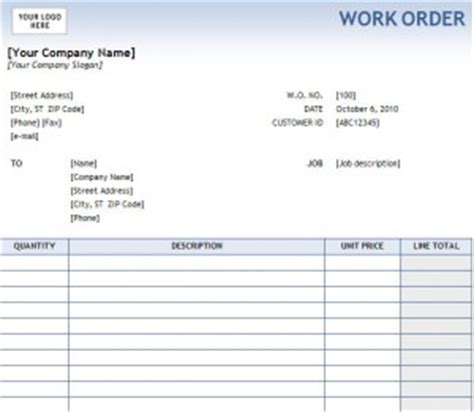 Maintenance Work Order Template Excel by Work Order Form For Excel