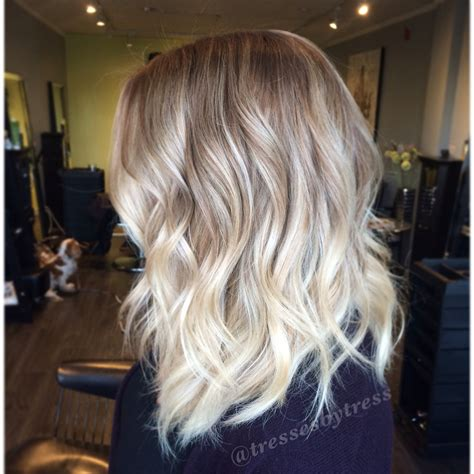 from platinum blonde to ombre platinum blonde balayage ombre textured lob haircut you