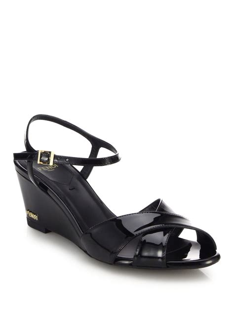Patent Leather Sandals by Lyst Fendi Patent Leather Wedge Sandals In Black