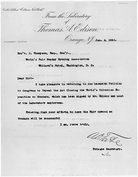 detail of cover letter from edison