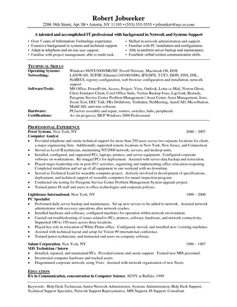 Computer Administrator Sle Resume by Network Technician Resume Exles 28 Images Sle Resume Of Computer Network Technician Network
