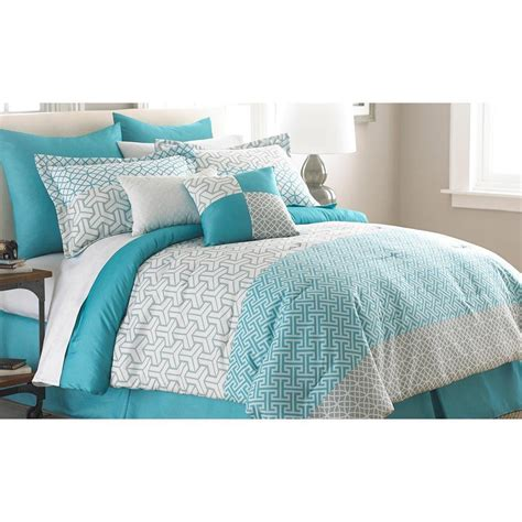 bedding comforter sets queen teal blue white gray modern geometric 8pc comforter