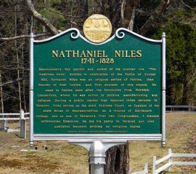 The American Nathaniel Niles Nathaniel Niles Historical Marker