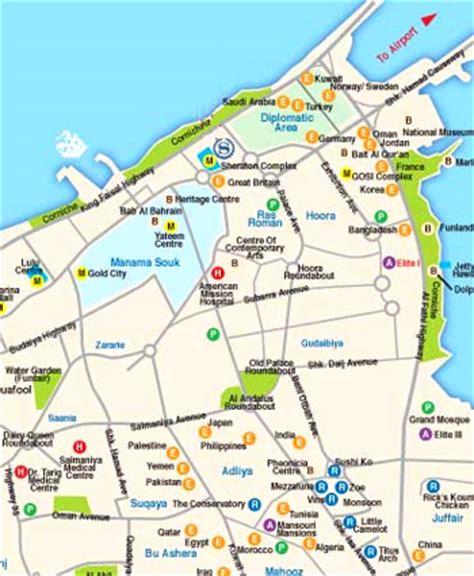 bahrain map with cities bahrain map map of manama bahrain manama city map