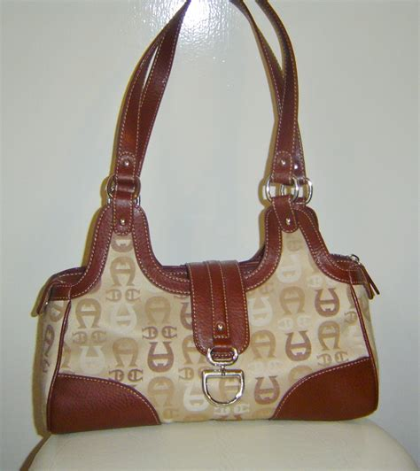 Aigner Bag Original Code 002 etienne aigner logo purse brown beige two tone tote